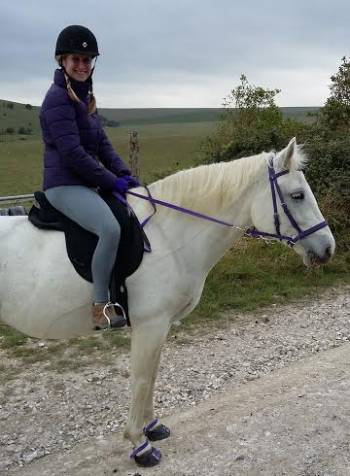 catherine parker riding in Dr Cook Bitless Bridle