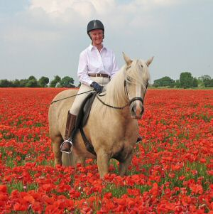 bitless riding in poppy field
